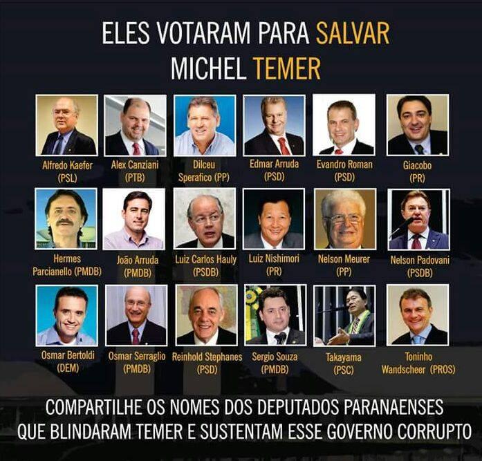 BANCADA DE DEPUTADOS DO PARANÁ VOTAM A FAVOR DE TEMER