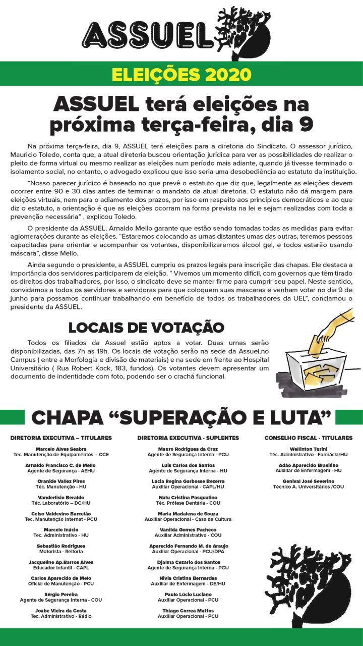 ASSUEL TERÁ ELEIÇÕES NA PRÓXIMA TERÇA- FEIRA, DIA 9