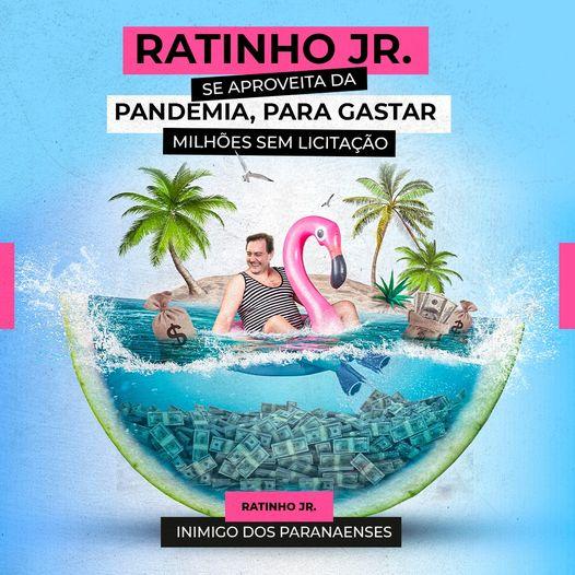 ?? Durante a pandemia de Covid-19, o governador paranaense Ratinho Jr gastou milhões de Reais em contratos sem licitação.